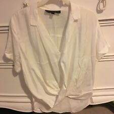 Topshop Off White Plunge Short Sleeved Blouse (Petite)