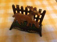 Vintage Cast Iron Deer Door Stop Or Desk Tidy