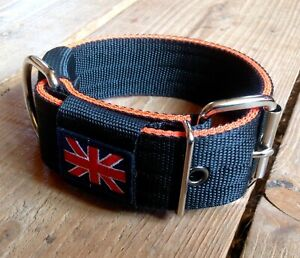 "BC1 Handmade Webbing Dog Collar 2"" wide Lurcher/Greyhound/Bull Cross 15""-20"""
