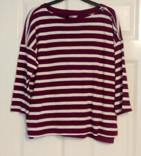 BNWT Marks and Spencer Collection White Red Stripe Cotton Mix Jumper UK Size 18
