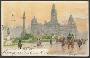 Postcard Glasgow International Exhibition 1901 George Square art by H Cassiers