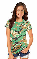 New Women Ladies Camouflage T-shirt Army Print Top Fancy Dress Parties Camo Top