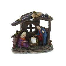 11cm Traditional Christmas Nativity Scene Set Ornament with Light Indoor Manger