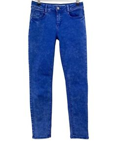NEW LOOK blue bleach faded wash super skinny stretch jeans size 10
