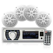 "Pyle PLMRKT38W BT Marine Receiver Stereo & Speaker Kit 6.5"" Waterproof Speakers"