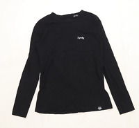 Superdry Womens Size 8 Graphic Black Superdry Long Sleeve T-Shirt (Regular)