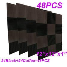48Pack1x12x12Coffee BLACK Acoustic Panels Studio Soundproofing Foam Wedge tiles