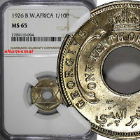 British West Africa George V 1926 1/10 Penny NGC MS65 NICE GEM BU COIN  KM# 7