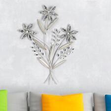 Exklusive Wand Deko Blume 68cm Silber Metall Wandbild Blumenzweig Formano