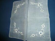 Vtg.Nwot Tag White Embroidered Floral Wedding Hankie,9 1/2 in