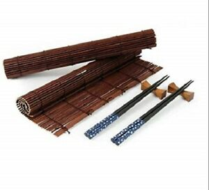 Tradition Chinese/Japanese Style CHOPSTICKS 2 Rest Set 2 Rolled Bamboo Place Mat