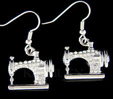 w Swarovski Crystal Frister Rossmann Vintage look Sewing machine Dangle Earrings