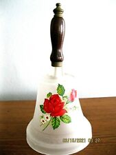 """Vintage White Frosted Glass School Bell w/Wood Handle, Red Rose Floral, 8-1/2"""" H"""