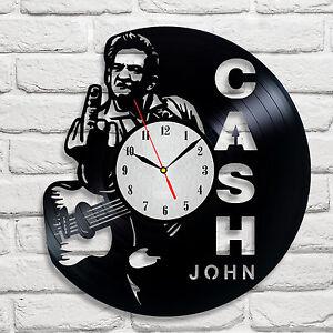 John Cash design vinyl record clock home decor art gift club office music 2