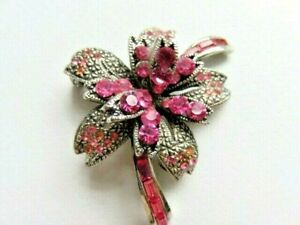 Costume Jewellery Hot Pink Vintage Brooch with makers mark