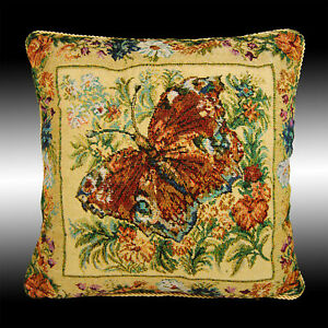 """VINTAGE FRENCH BEIGE BUTTERFLY TAPESTRY THROW PILLOW CASE CUSHION COVER 17"""""""