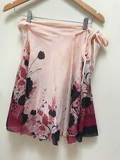 Alannah Hill Silk Cotton Wrap Skirt Pink Black Floral Size 8