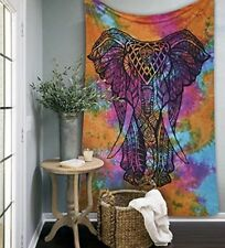 Indian Mandala Wall Hanging Cotton Tapestry Elephant Tapestries Rainbow Colour