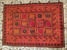 True Vintage Antique India Wall Hanging Boho Hand Embroidered w Mirrors textile