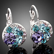 EG_ HK- Women Fashion Cubic Zirconia Full Crystal Leverback Silver Alloy Earring