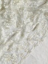 """Stunning Embroided double Scalloped Bridal lace Fabric 52"""" wide Tulle Net Dress"""