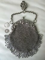 Antique Silver Repousse Floral French Steel Bead Chatelaine Belt Clip Kilt Purse