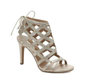 Audrey Brooke Size 7.5 Gold Lace Up Cage Stiletto Heels Womens Party Club Monza