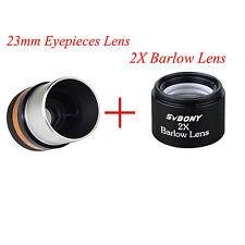 "1.25""31.7mm Astronomical Telescope WIDE Eyepiece Lens 23mm & 2x Barlow Lens"