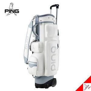 "Ping 2021 SC Lady Women Golf Wheeled Caddie Cart Bag 8.5"" 5Way 4kg PU/PVC -White"