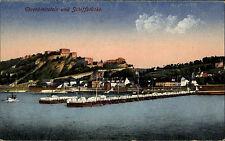 Ehrenbreitstein bei Koblenz Color AK ~1910 Blick auf Burg und Schiffsbrücke Burg