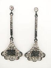 Fashion Black Plated Ginkgo Leaf Shape Smoky Rhinestone Dangle Earring