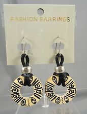 Open Circle Wood Black Painted Dangling Post Pierced Earrings NWT  #389