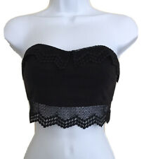Forever 21 Black Strapless Bandeau Crop Bra Top Crochet Lace sz S Brami Bustier