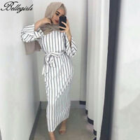 2018 Muslim Women Modest Maxi Dress Abaya Turkey Stripe Long Robe Kaftan Clothes