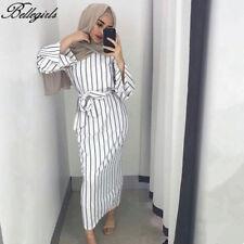 2018 Muslim Women Modest Maxi Dress Abaya Turkey Stripe Long Robe Kaftan Clothes