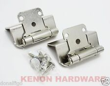 "30 Pairs (60) Self Closing OVERLAY 1/2"" Cabinet Hinges- ONE HOLE -Satin Nickel"