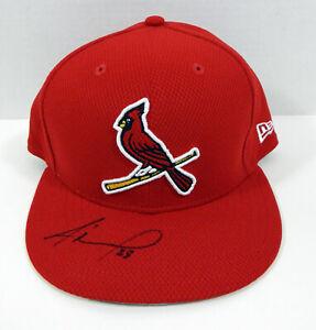 St. Louis Cardinals Adolis Garcia #28 Signed Red Hat Auto 7.25 STLC0540