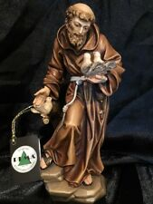 St Saint Francis Patron of Animals Hand Carved Painted Figurine 7.5""