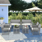 Us Rattan Patio Set Coffee 8pcs Gray Cushioned Table Garden Furniture Outdoor Ho