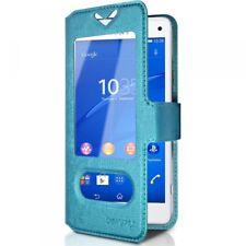 Housse Coque Etui S-view Universel S Couleur Bleu Clair pour Sony Xperia Z3 Comp