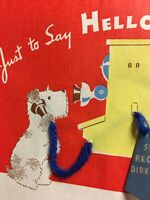 Cute 1939 Terrier Dog on Telephone w/ Hanging Phone Book Vintage Norcross Card