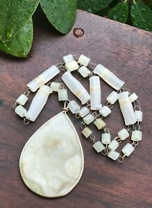 """Vintage Carved Resin Shell Pendant Necklace With Chain 23"""""""