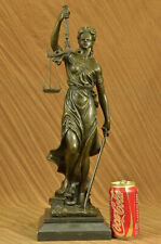 Blind Justice Law Lady Scale Bronze Sculpture Figurine Statue Brown Patina DEAL