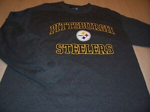 NFL TEAM APPAREL PITTSBURGH STEELERS LS GRAY T-SHIRT MENS LARGE EXCELLENT COND.