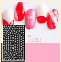 Christmas Nail Art Stickers Decals Snow Balls White Snowflakes Lace Dots (F282)