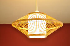 Handmade Bamboo Lampshade Round Pendant Ceiling Shade White Film Brown L006-D2