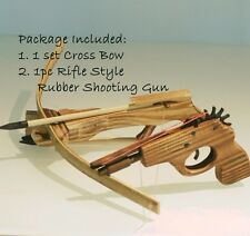 "8.5"" HANDCRAFTED COWBOY WOODEN PISTOL RUBBER BAND SHOOTING TOY GUN CROSS BOW SET"