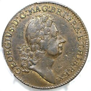 (1722) M 2.1-B.1 PCGS AU 55 With Ribbon Rosa Americana Two Pence Colonial Coin