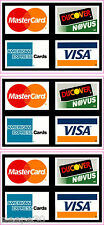 CREDIT CARD LOGO STICKER DECALS x3 Visa, MasterCard, Discover, American Express