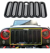 Black Front Insert Mesh Grille With Key Hood Lock Cover 4 Jeep Wrangler JK 07-17